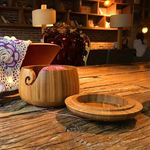Ecológico de madera Hilados de lana de almacenamiento Tazón Organizador de punto de ganchillo hecho a mano cuenco de almacenamiento fuentes de costura de almacenamiento