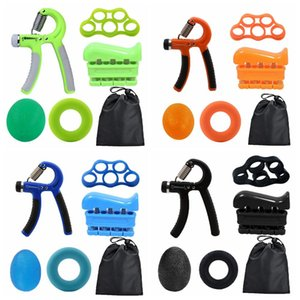 5sets hand grips professional training equipment silicone fitness hand strength ball five fingers clench sport hand adjustable grips FFA3979