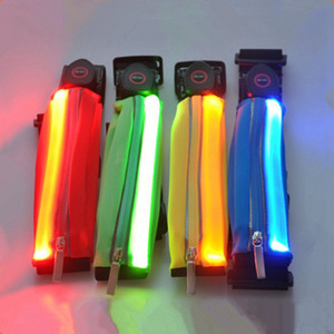 LED Sports Waistpack Solid Color Chargeable Casual Glow Waist Bags Night Running Mini Pocket Fit Men Women RRA2066