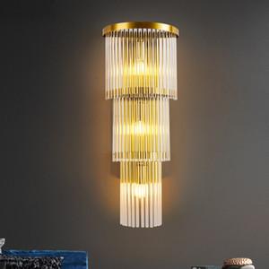 Modern Kristal Cam Led Duvar Lambası Altın Metal Yatak Odası Led Duvar Işıklar Fikstür Salon Led Işık Koridor