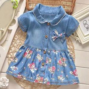 -Nó borboleta criança Girls Dress Denim impressão Floral Princess Dress Botão Vestidos crianças para meninas Vestido de Verão roupa do bebê da menina