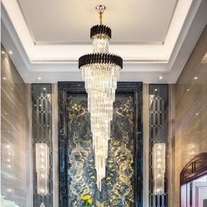 Luxo Rotating longo candelabro de cristal luminárias levou Stair candelabro iluminação moderna cristal luminária Hotel Villa do candelabro do ouro