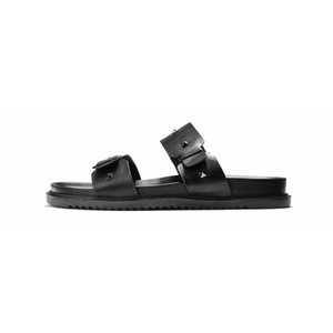 Fashion Brand Slides Mens Soft Cow Leather Outdoor Breathable Non-slip Sandals Male 2020 Summer Black Beach Slippers Top Quality