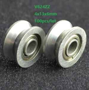 100 pz V624ZZ V624 ZZ 624 W 4x13x6mm V groove cuscinetto a rulli ruota per guida pista 4 * 13 * 6mm acciaio ad alto tenore di carbonio