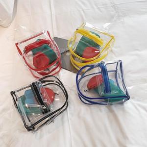 Designer- claro transparente de las mujeres Mochila Pequeña de sexo femenino linda bolsa de viaje con 3 monedero del color del caramelo Schoolbags para mochilas adolescentes