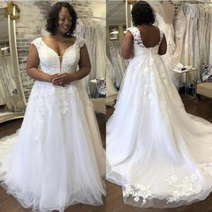 South African Plus Size A-Line Wedding Dresses Lace Appliques V-Neck Buttons Back Country Beach Boho Bride Gowns Vestidos De Novia