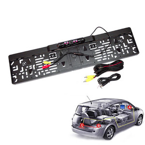 Nuevo HD LCD Car European License Plate Frame Rearview Camera Night Vision con 4 luces LED