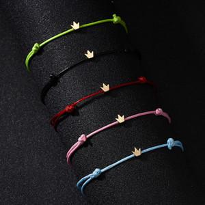 Pentagram Crown cruz pulseiras corda de couro para Cadeia amantes Handmade Corda Pulseiras simples casal bonito presentes Pulseira para as Mulheres