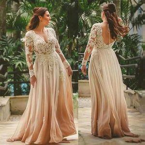 Элегантное шампанское с V-образным вырезом Boho Платья для матери A-Line Длина пола Свадебное платье Индийский стиль с открытой спиной Кружева Платья для матери невесты BC1715