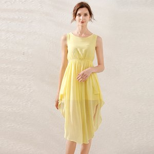 High Waist Split Vest Yellow Summer Beach Dress Ropa Mujer Verano Holiday Dress High Quality Sleeveless Cute Office Lady Dresses