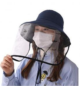 Elegante protector Cap sombrero anti-niebla anti-ultravioleta Máscara Aislamiento Sombrero de sol careta Pescador sombrero anti-Escupir Splash cubierta facial