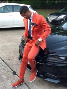 Masculino Coat Pant Orange Men Suit Casual Slim Fit 2Pcs Tuxedo Tailor Groom Prom Party Blazer Jacket Pant Can Be Customized A15