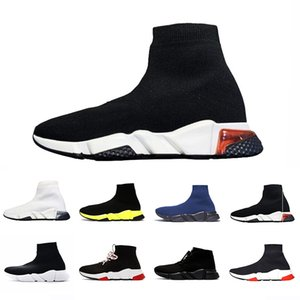 Balenciaga sneakers Graffiti Clear sole Lace-up Designer casual sock Shoes Speed Trainer Paris Black Red Triple Black Fashion Socks Outdoor sports Sneakers