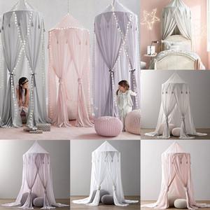 Hung Dome princesa Menina nova cama moderna Valance Chiffon Canopy Mosquito crianças Net Cortinas jogo tenda para quarto do bebê