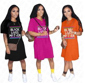 2020 BLACK LIVES MATTER Oversize футболка дизайнерская футболка для женщин летние свободные платья повседневная спортивная пляжная ткань платья общий D61803