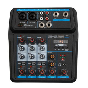 Freeshipping En Yeni Mini 4 Kanal USB Audio Mixer Konsolu ile Bluetooth Fonksiyonu