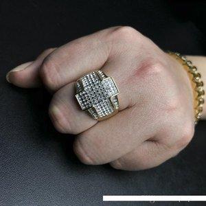USpecial nuevo Mens Hip Hop anillos joyería chapado en oro Rhinestone Cruz anillos moda Stainles anillos de acero para hombres