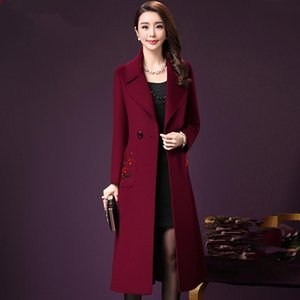 Floral Embroidery Women Blends Coat 2019 Autumn and Winter Coat Mid-Long Overcoat Female