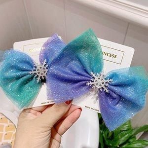 Clip di Natale del fiocco di neve accessori per capelli capelli di cristallo per le ragazze dei bambini HairTies ragazze di inverno forcine Blu capelli Scrunchies Hairband M839