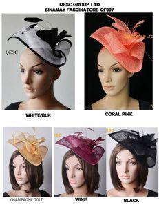 bianco nero royal vino blu corallo fiore piuma .Sinamay Fascinator del cappello rosa per Ascot Races, Melbourne Cup, Kentucky Derby e matrimonio