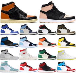 Nike AIR Jordan 1 avec sans chaussettes 2020AirJordanBasket-ball Hommes de luxe rétro Chaussures 1 Brisées Backboard sans Peur = taille Baskets 36-46