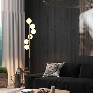 북유럽 포스트 현대 미니멀 매직 콩 바닥 램프 패션 침실 거실 호텔 홈 유리 공 대리석 바닥 빛 L123