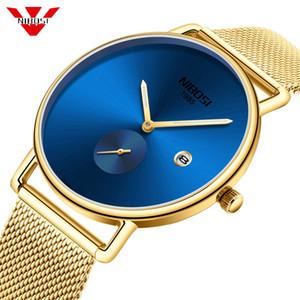NIBOSI Einfach Blue Gold-Mann-Uhr-Ineinander greifen Military Watch 30m wasserdichte Armbanduhr Quarz-Thin-Sport-Uhr Male Relogios Masculino