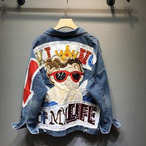 Новые джинсовые куртки для женщин Осень вышивки мультфильм картинки джинсы Coat Сыпучие Cowboy Holes Vintage Denim Blue Верхняя одежда R865
