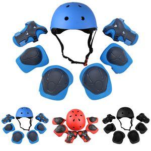 Çocuk Bisiklet Sporları Koruyucu Güvenlik Gear için ayarlanabilir 7 Adet Çocuk Paten Bisiklet Kask Diz Bilek Muhafız Dirsek Pad Seti