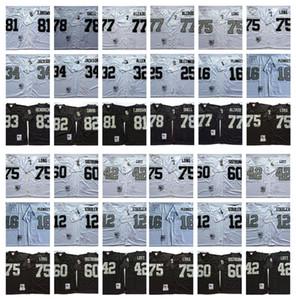 Jersey retro 34 bo Jackson 75 Howie Long 81 Tim Brown 32 Marcus Allen 77 Lyle Alzado 12 Ken Stabler Lester Hayes 42 Ronnie Lott Mn Fútbol