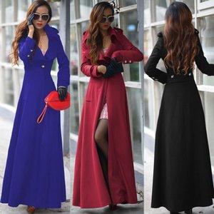 2019 Sonbahar ve Kış Tweed Coat Yeni Bir Düğme Kadın Elbise Coat Artı Uzun WINDBREAKER