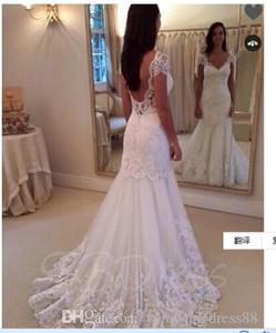Princess Wedding Dresses Cap Sleeves Appliques Open Back Sweep Train Mermaid Wedding Dress