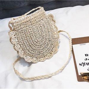 2019 mais novo Hot Mulheres Woven Hand menina Rattan Bolsa de palha de vime tecida ao redor Bolsa Handmade Crossbody Messenger Bag Bolsa de Praia