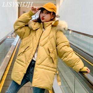 LISYRHJH las mujeres del invierno de la chaqueta caliente del collar 2019 de la nueva manera de piel con capucha engrosamiento de algodón floja ocasional de gran tamaño Mujeres Parka
