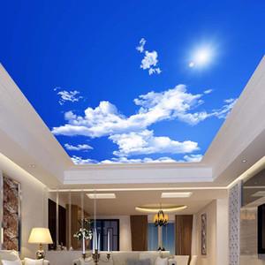 Blue Sky White Clouds Солнечный свет потолка Zenith Mural Пользовательские 3D фото обои для потолка гостиной украшения Mural обои
