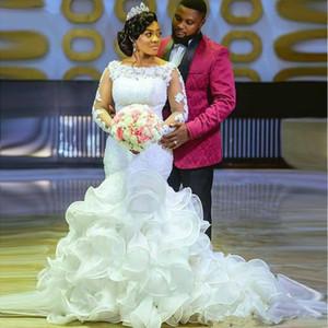 2020 Elegant Lace Long Sleeves Mermaid African Wedding Dress with Ruffles Train South Africa Plus Size Nigeria Wedding Bridal Gowns