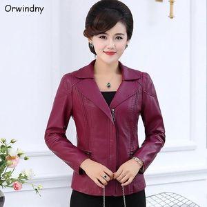 Orwindny Plus Size L-5XL Lederjacke für Frauen Casual Weibliche Ledermantel Large Size Damen-Bekleidung Oberbekleidung Basis Tops