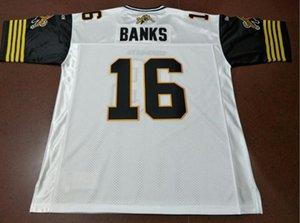 Пользовательские Мужчины Молодежных женщины Vintage Hamilton Tiger-Cats # 16 Brandon Банка футбол Джерси размера s-5XL или пользовательский любое имя или номер джерси