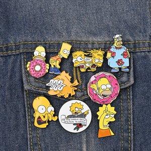 Simpson-Brosche Cartoons Simpson Familie Pins Mr Burns Bart Simpson Marge Simpson Ehrennadel Vintage TV anzeigen 90S Schmuck