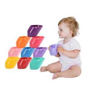 طفل تدريب تغذية شرب كوب ماء مع مقبض شطبة الفم الآمن مانعة للتسرب كوب الاطفال زجاجة ماء 10 ألوان C6809