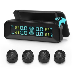 Universal C260 TPMS Solar Tire Pressure Monitor System Real-time Tester LCD Screen with 4 External Sensors Vibration Power On and Auto Power