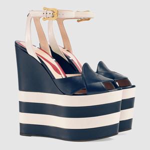 Freies verschiffen 6 cm gestreifte Plattform Gladiator Sandalen Frauen schlange 16 CM Wedges Heels Pumps Escarpins party Hochzeit Schuhe Mary Jane 3 farben
