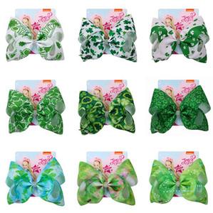 Jojo siwa dört yapraklı yonca ilmek Tokalar Bebek Kız Lucky Clover Tokalarım Çocuklar Yeşil saç Yaylar klibi Çocuk Kafa A22502 accessaries