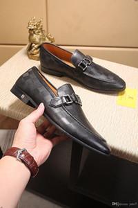 20WF Luxus MAN Business-Schuh-Klassiker Gentleman blaue Hochzeit Schuh-echtes Leder MAN-Kleid-Schuh-große Größe 38-45 MADAOL