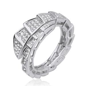 Regalo de la joyería del anillo de la serpiente de lujo circón anillo de diamante Serpenti marea de la moda de las mujeres de la marca