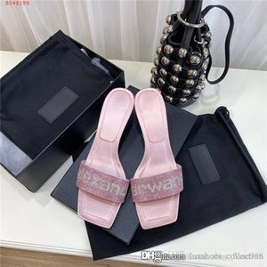 2020 womens low-heeled sandals spring and summer letters water drill square head cool slippers heel-height 4.5 cm With box 35-39