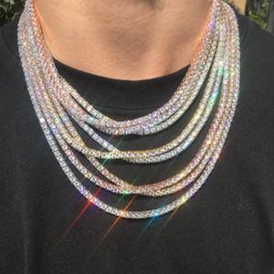 Hip hop buzlu Out Zirkon 1 Sıra Tenis Zincir kolye Altın Gümüş Bakır Malzeme Erkekler CZ kolye Bağlantı 18 20 24 30inch