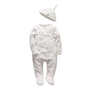 العطاء الرضع فتاة الأولاد السروال القصير لينة طويلة الأكمام الكرتون الحيوان infantil الوليد ملابس الطفل الأبيض القطن الرضع بذلة + قبعة J190706