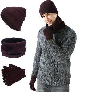 Lavorare a maglia cappello sciarpa Glove Set Moda Uomo Donna Beanie Cappelli invernali Sciarpa causale Ourdoor caldi guanti TTA1630