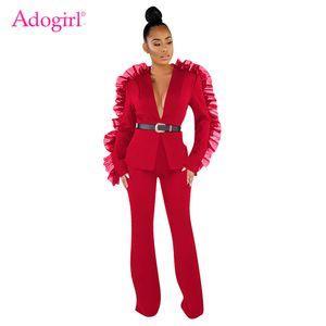 Adogirl Feste Ineinander greifen-Rüsche Art und Weise Zweiteiler Langarm-Blazer Top Coat Wide Leg Pants Women Anzug Lässige